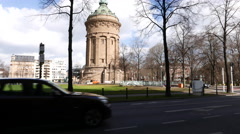 Water Tower Mannheim with traffic Stock Footage