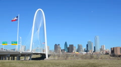 Dallas Texas new Margaret Hunt Hill Bridge white modern art structure in Stock Footage