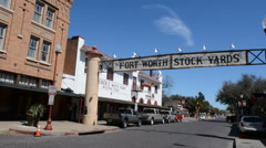 Ft Worth Texas Main Street near the Stockyard famous for the Longhorn herds that Stock Footage
