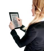 Business lady with touch pad - stock photo