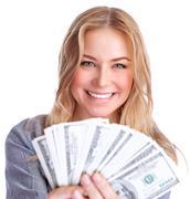 Cute girl winning money - stock photo