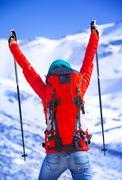 Happy winner of winter sport games Stock Photos
