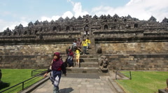 Tourists Visiting Borobudur in Yogyakarta, Java, Indonesia Stock Footage