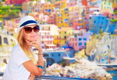 Enjoying travel to Europe - stock photo