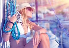 Young sexy sailor girl - stock photo