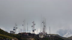 Communication antennas on the crest of the Andes in Ecuador Stock Footage