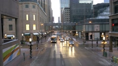 Minneapolis Downtown from skywalk Stock Footage