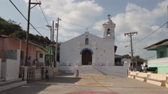 Isla Taboga Panama Central America Catholic Church In Main Square - stock footage