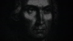 Animation of Cristopher Columbus with numbers running Stock Footage