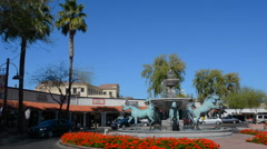 Old Scottsdale Arizona horse statue fountain tourist area 5th Avenue and Stock Footage