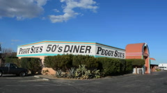 Barstow, California CA Peggy Sue's 50's Restaurant famous historical place in Stock Footage