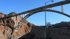 Boulder Dam new Bridge Nevada and Arizona viewing area energy and Lake Mead Stock Footage
