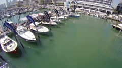 Miami International Boat Show 2015 Aerial Video Stock Footage