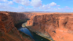 Page Arizona Glen Canyon Dam on Colorado River scenics with rocks and clouds for - stock footage