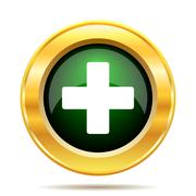 Medical cross icon. Internet button on white background.. - stock illustration