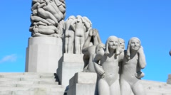 Oslo Norway Vigeland Installaation park sculpture 1924-1943 Frogner Park Gustav Stock Footage