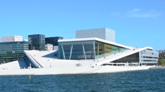 Oslo Norway brand new modern Opera House at pier downtown looks like Glacier Stock Footage