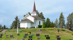 Hallingby Norway between Oslo and Bergen white church called Hval Kirke Church Stock Footage