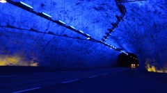 Laerdal Norway tunnel longest tunnel in world at 24.5 km or 15 miles long with Stock Footage