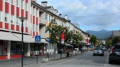Voss Norway sunshine on Main Street in city Stock Footage