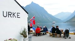 Norway cruise Hurtigruten beautiful little town of 43 people with marina and Stock Footage