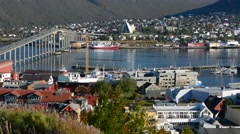 Tromso Norway cruise Hurtigruten panoramic scene of city from mountain showing - stock footage