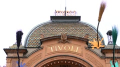 Copenhagen Denmark famous Tivoli entrance amusement park sign Kobenhavn Stock Footage