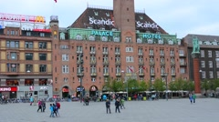 Copenhagen Denmark Radhuspladsen and city hall Palace Hotel Kobenhavn Stock Footage