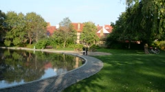 Odense Denmark Hans Christian Andersen Museum writer home and grounds Stock Footage