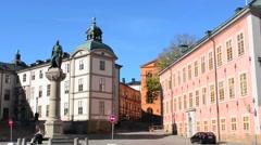 Stockholm Sweden Riddarholmen Court House beautiful old buildings statue Stock Footage