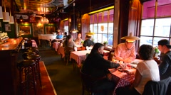 Odense Denmark old interior of bar called Albani Bar and customers in Hans Stock Footage