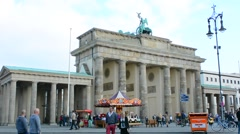 Berlin Germany Brandenberg Gate and celebration party at city center Stock Footage
