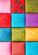 A square, Fabric texture collection and background Stock Photos