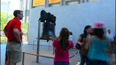 Philadelphia Pennsylvania Liberty Bell in Independence Hall famous historical Stock Footage