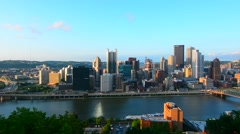 Pittsburgh Pennsylvania skyline from Mt Washington of downtown city and rivers Stock Footage