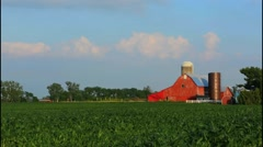 Milford Center Ohio farm with red barn and corn owned by Jim Watkins and Midwest - stock footage