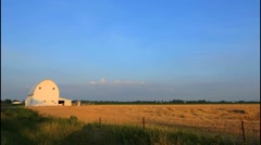 Plain City Ohio farm with white barn and wheat Midwest farming near Columbus Stock Footage