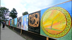 Yellow Springs Ohio artsy small town with Gallery Art Fence painted by local Stock Footage
