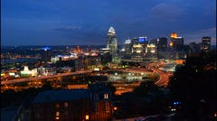 Cincinnati Ohio night exposure from above at Mt Adams at The View in Midwest - stock footage