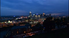 Cincinnati Ohio night exposure from above at Mt Adams at The View in Midwest Stock Footage