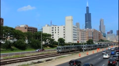 Chicago Illinois skyline with Sears Tower or Willis Tower in the back with - stock footage