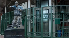 Chicago Illinois famous Wrigley Field statue of Harry Caray announcer for Major - stock footage