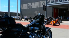 Milwaukee Wisconsin downtown Harley Davidson Museum founded in 1903 motorcycles Stock Footage