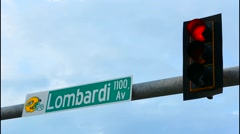 Green Bay Wisconsin Lombardi Avenue sign  home of Green Bay Packers NFL Football Stock Footage