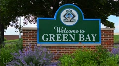 Green Bay Wisconsin sign for town famous for home of Green Bay Packers NFL Stock Footage