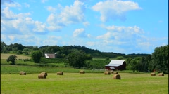 Eau Claire Wisconsin farming fields farm in hills of outside the country green - stock footage