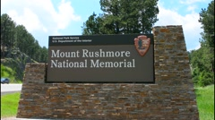 Mount Rushmore South Dakota Keystone sign for entrance to National Memorial of  - stock footage