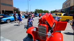 Rapid City South Dakota street Cruiser Car Show in downtown with old classic Stock Footage