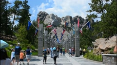 Mount Rushmore South Dakota Keystone entrance with flags to National Memorial of - stock footage
