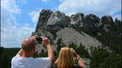 Mount Rushmore South Dakota Keystone  National Memorial of Presidents tourists Stock Footage